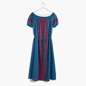 Madewell Embroidered Indigo Mercado Dress